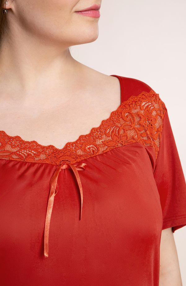 Karminowa koszula nocna z koronką Mewa