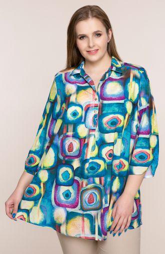 Lekka koszula w kolorowe kształty