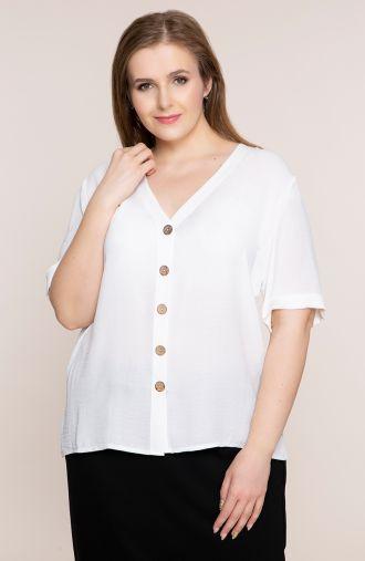 Lekka biała bluzka z dekoltem<span> - odzież plus size</span>