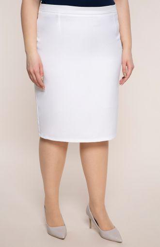 Biała klasyczna spódnica z lnu