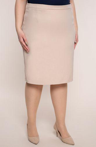 Beżowa klasyczna spódnica z lnu