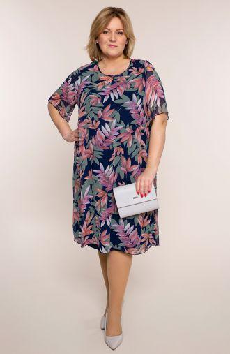 Szyfonowa sukienka różowe liście
