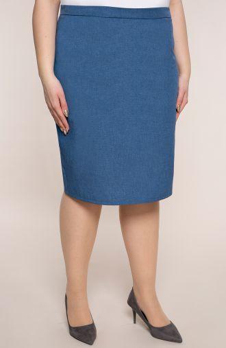 Niebieska klasyczna spódnica z lnu