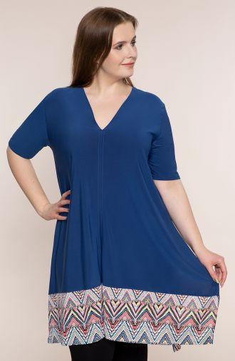 Długa niebieska tunika z kolorowym dołem