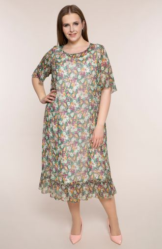 Szyfonowa sukienka zielona łąka
