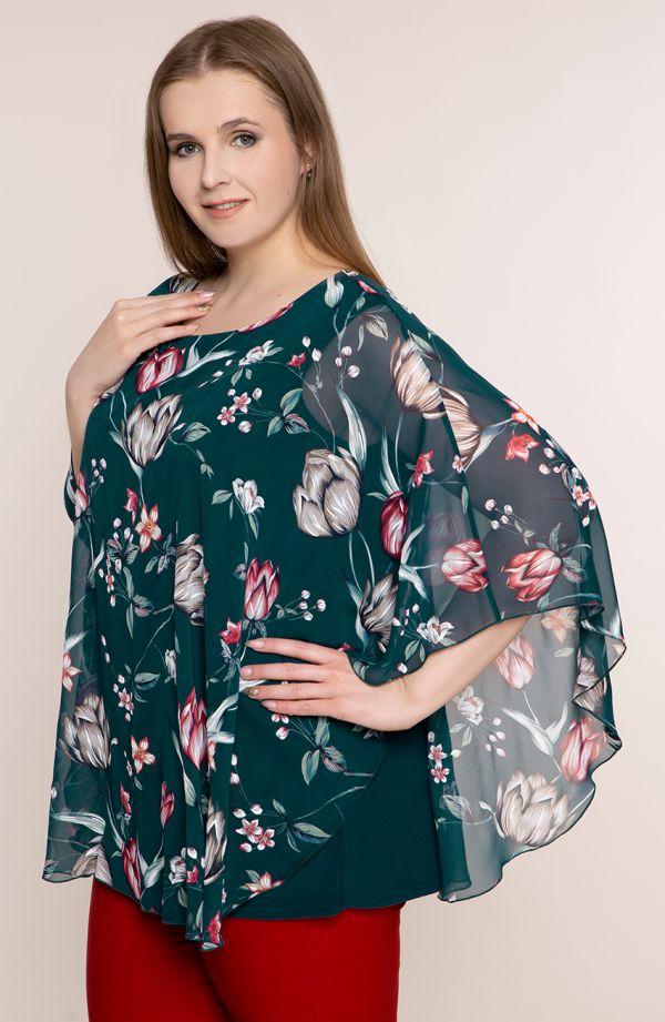 Zielona bluzka w leśne kwiaty