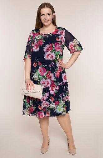 Szyfonowa sukienka w wiosenne bukiety