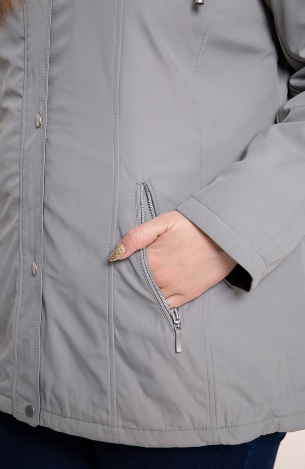 Jasnoszara przejściowa kurtka z kapturem