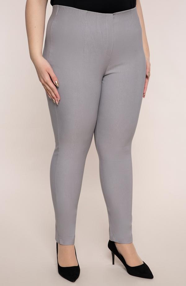 Jasnoszare spodnie cygaretkiplus size dla puszystych z bengaliny
