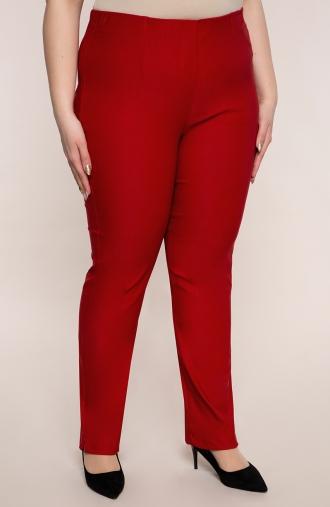 Dłuższe proste spodnie w kolorze maku