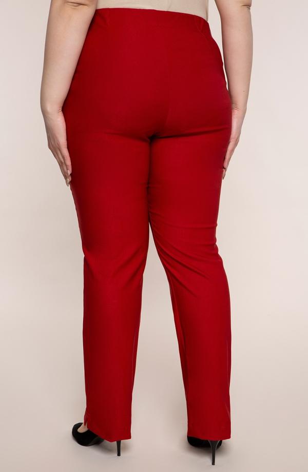 Dłuższe proste spodnie plus size dla puszystych w kolorze maku