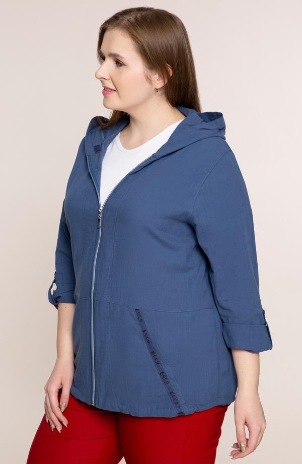 Niebieska bluza z bawełny z kapturem -<span>moda dla puszystych</span>