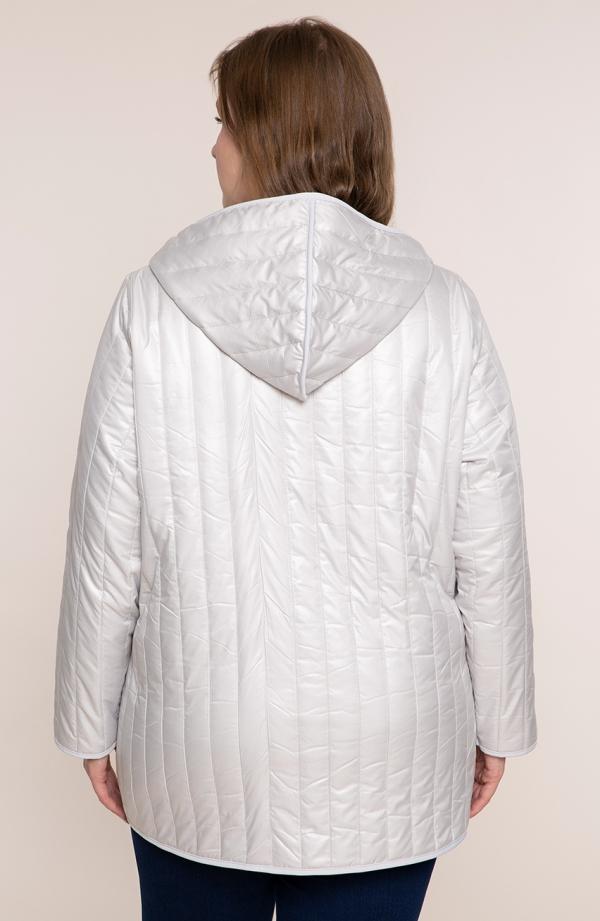 Perłowa kurtka z kapturem i kieszeniami
