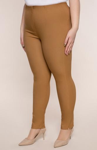 Karmelowe spodnie cygaretki z bengaliny