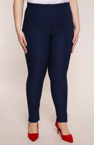 Granatowe spodnie cygaretki z bengaliny
