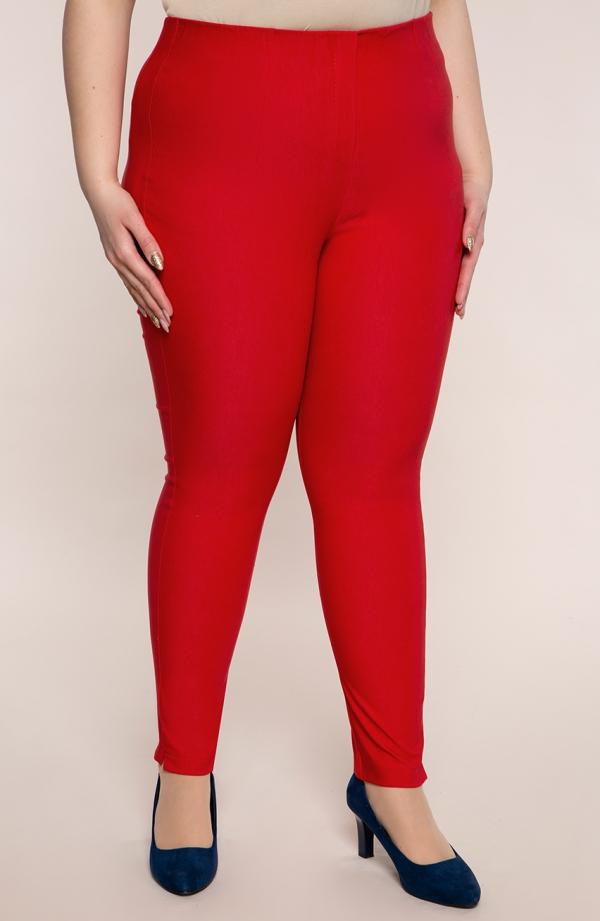 Czerwone zwężane spodnie cygaretki z bengaliny