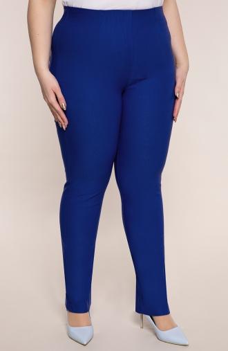 Dłuższe proste spodnie w kolorze chabru