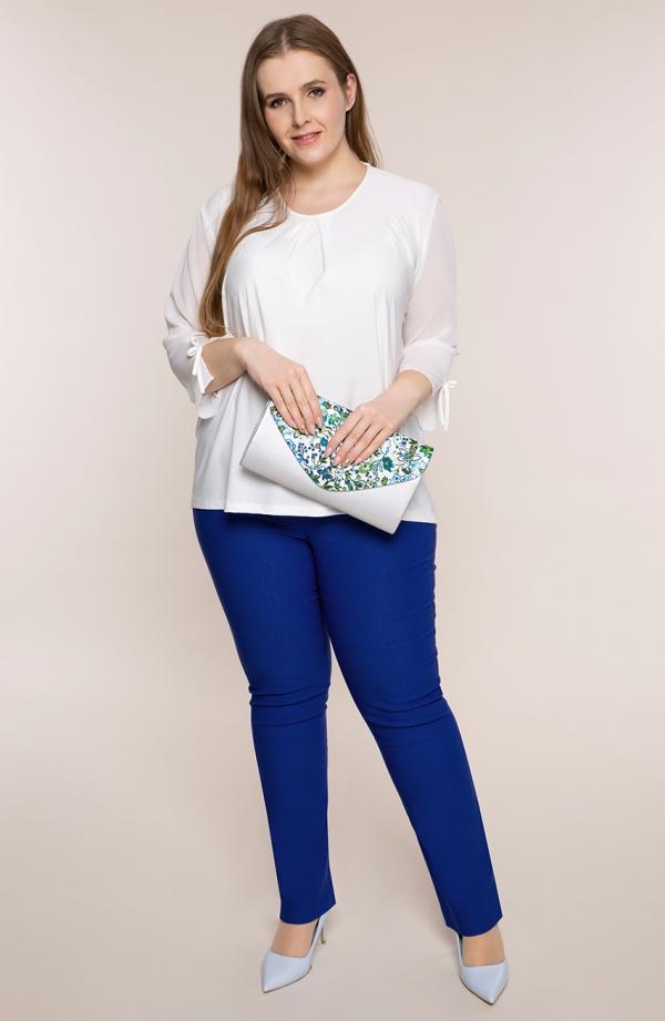 Dłuższe proste spodnie plus size dla puszystych w kolorze chabru