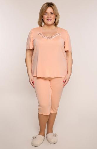 Morelowa piżama z koronką przy dekolcie