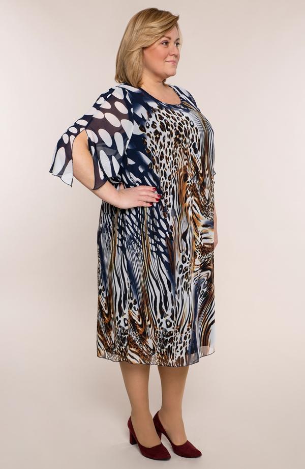 Dwuwarstwowa sukienka płynąca panterka