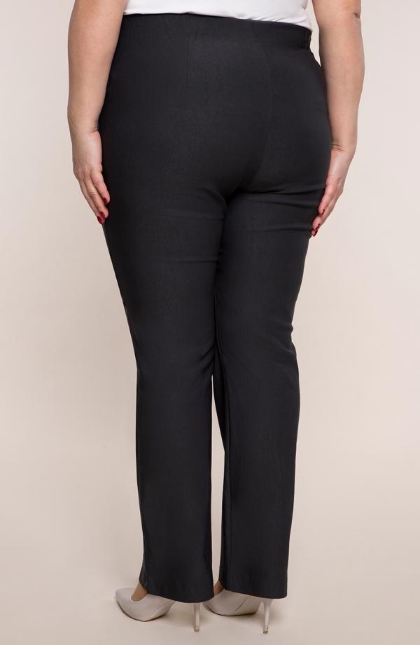 Dłuższe proste spodnieplus size dla puszystych w kolorze grafitu