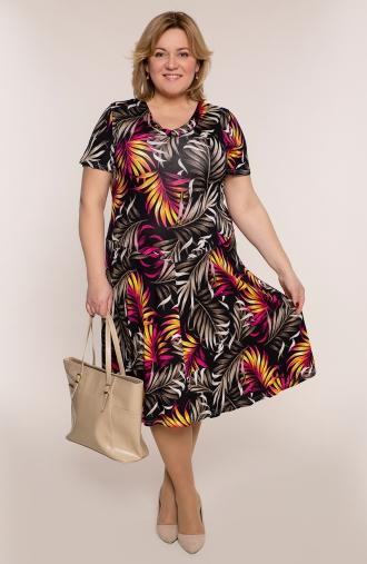Rozkloszowana sukienka czarna dżungla