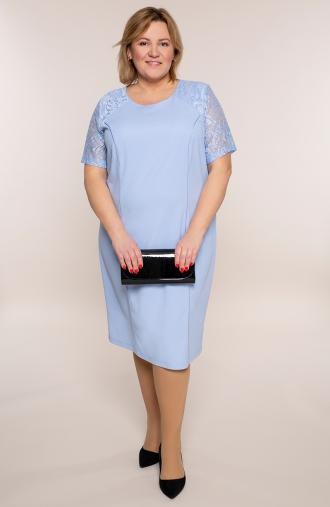 Jasnoniebieska sukienka z koronkowym rękawem