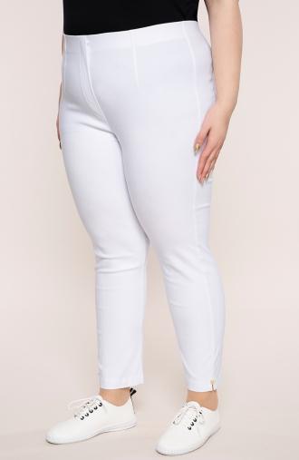 Białe spodnie 7/8 z wysokim stanem