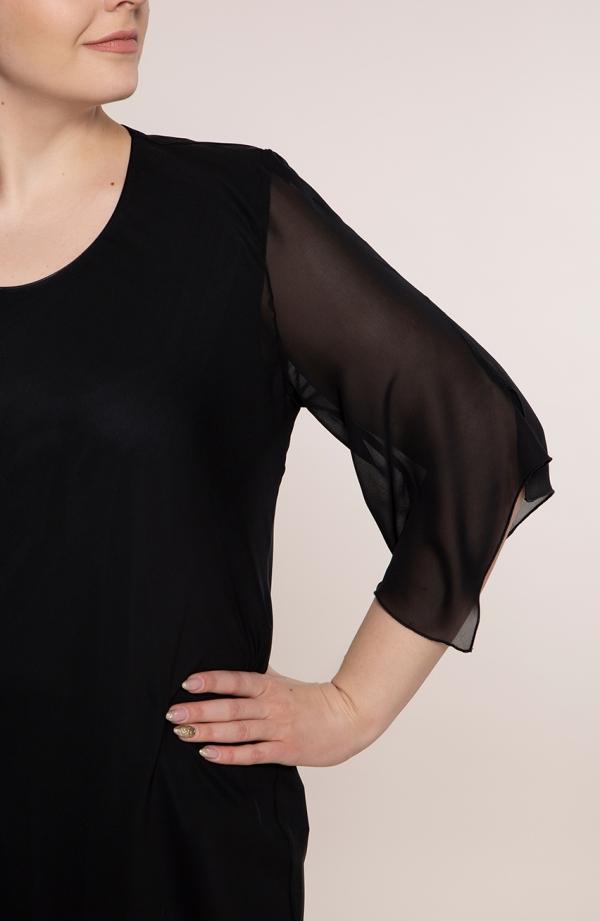Czarna asymetryczna tunika z szyfonu