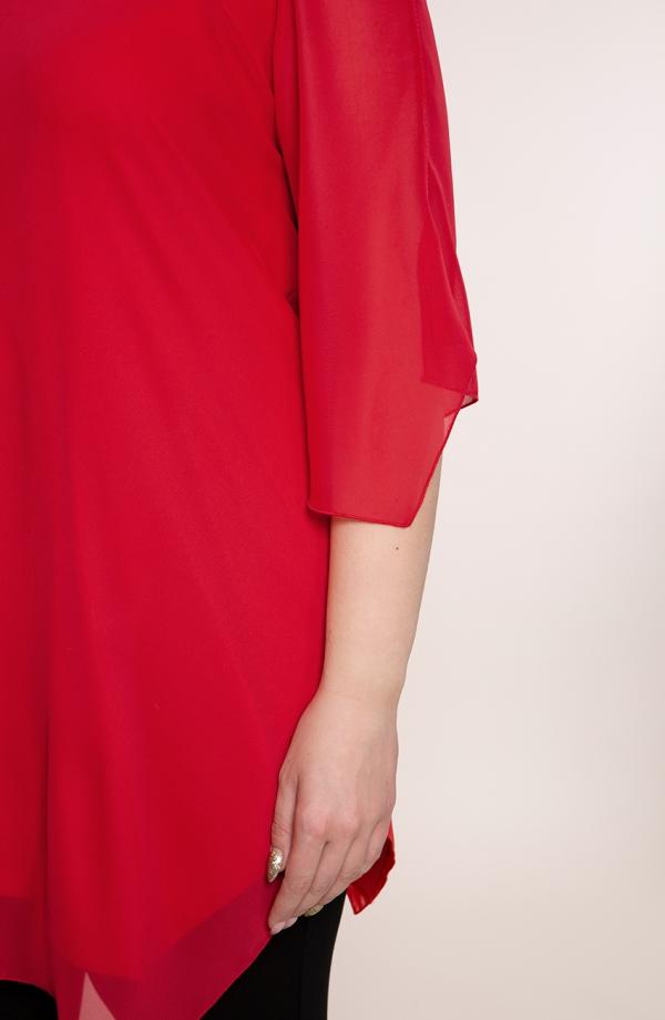 Czerwona asymetryczna tunika z szyfonu