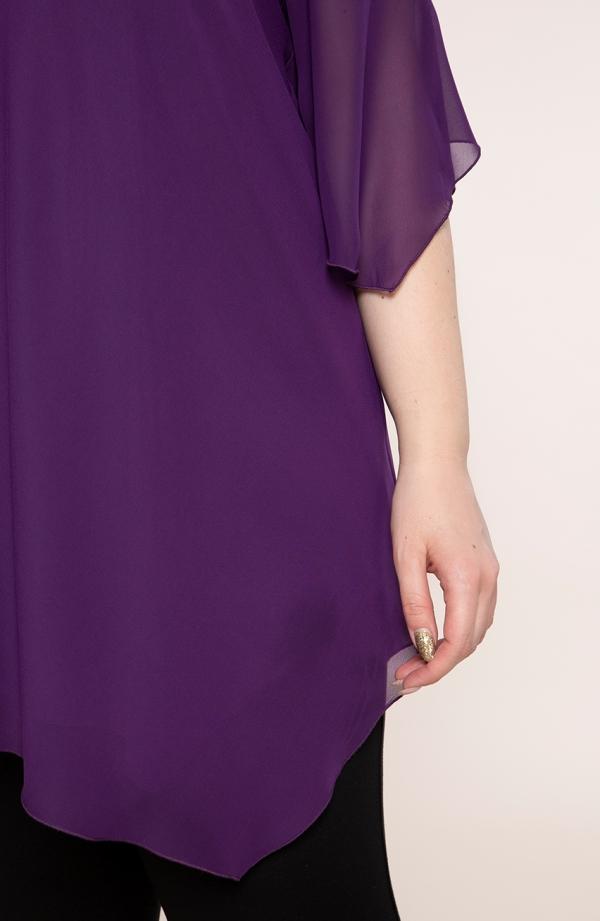 Fioletowa asymetryczna tunika z szyfonu