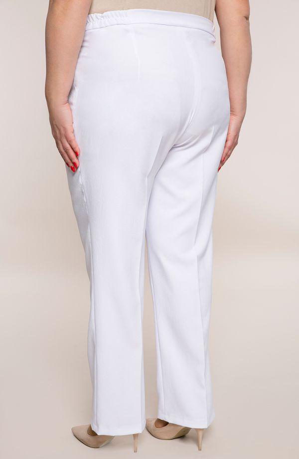 Lniane spodnie w kant w białym kolorze