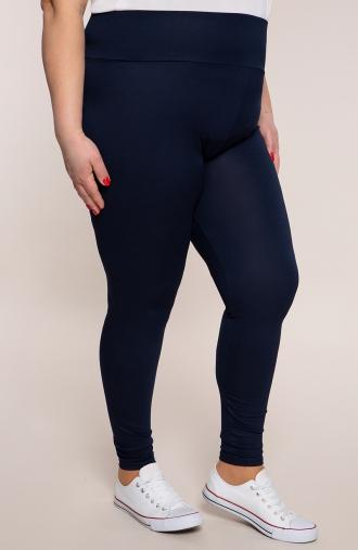 Granatowe legginsy damskie z wysokim stanem
