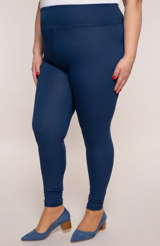 Niebieskie legginsy z wysokim stanem