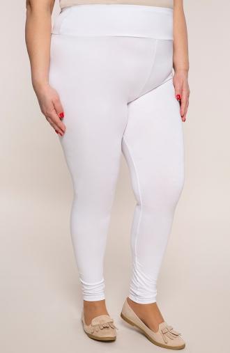 Białe legginsy z wysokim stanem