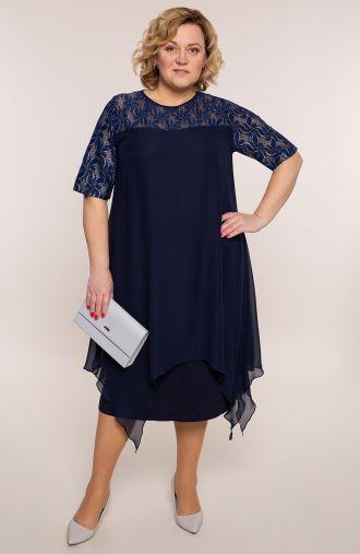 Granatowa sukienka z szyfonowym dołem