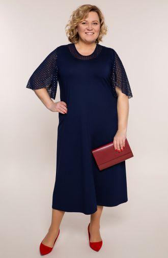 Granatowa sukienka z ozdobnymi rękawami