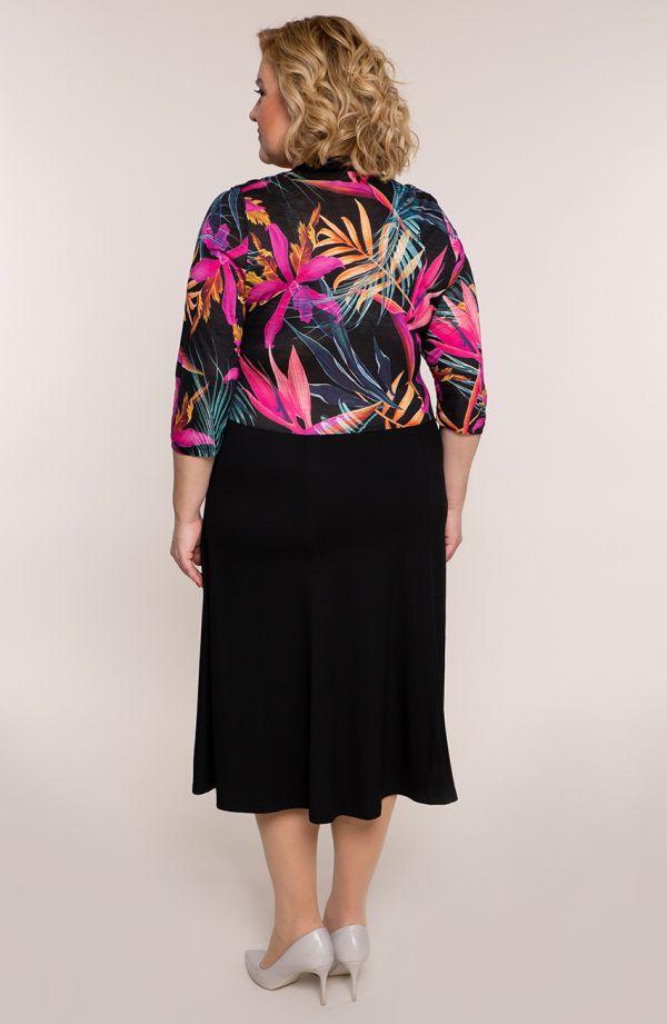 Czarna sukienka różowe tropiki