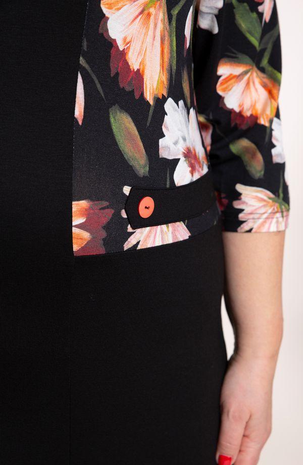 Czarna sukienka malowane kwiaty