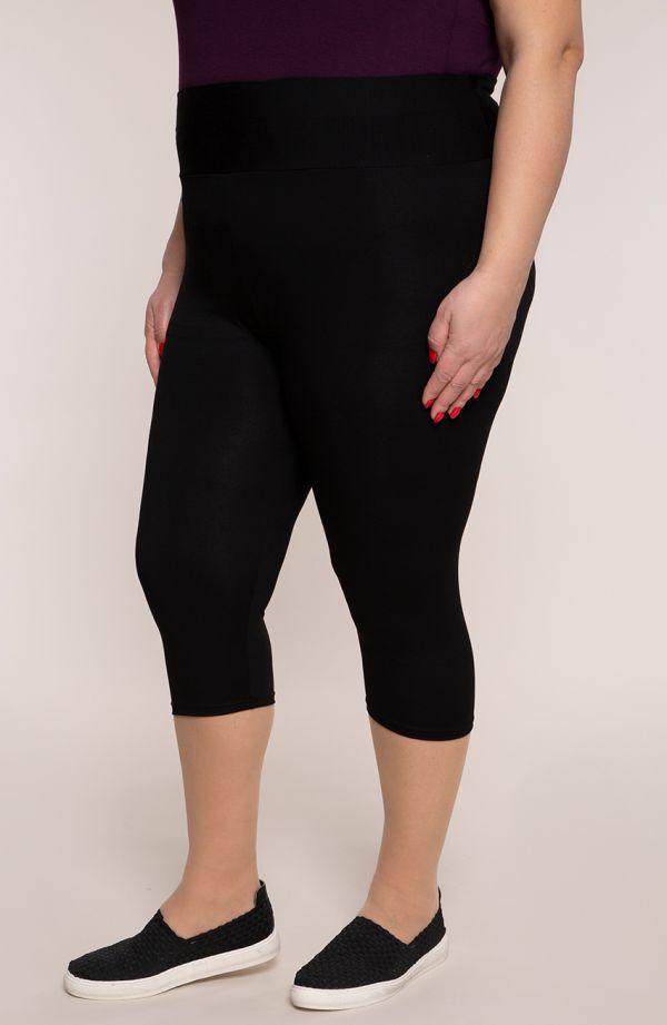 Czarne legginsy duże rozmiary plus size 3/4 z wysokim stanem