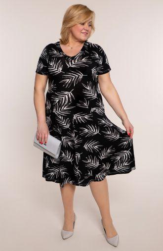 Rozkloszowana sukienka szara paprotka