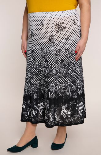 Rozkloszowana spódnica różana szachownica