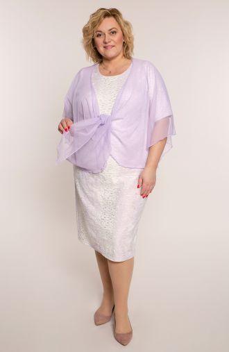 Kremoworóżowa sukienka z narzutką