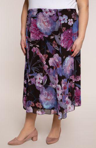 Fioletowa spódnica w czerwcowe kwiaty