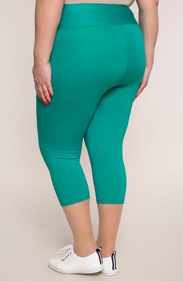 Turkusowe legginsy plus size 3/4 z wysokim stanem