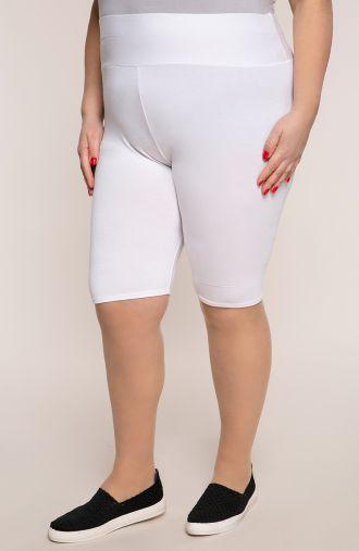 Krótkie białe legginsy wysoki stan