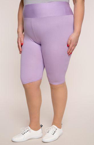 Krótkie liliowe legginsy wysoki stan