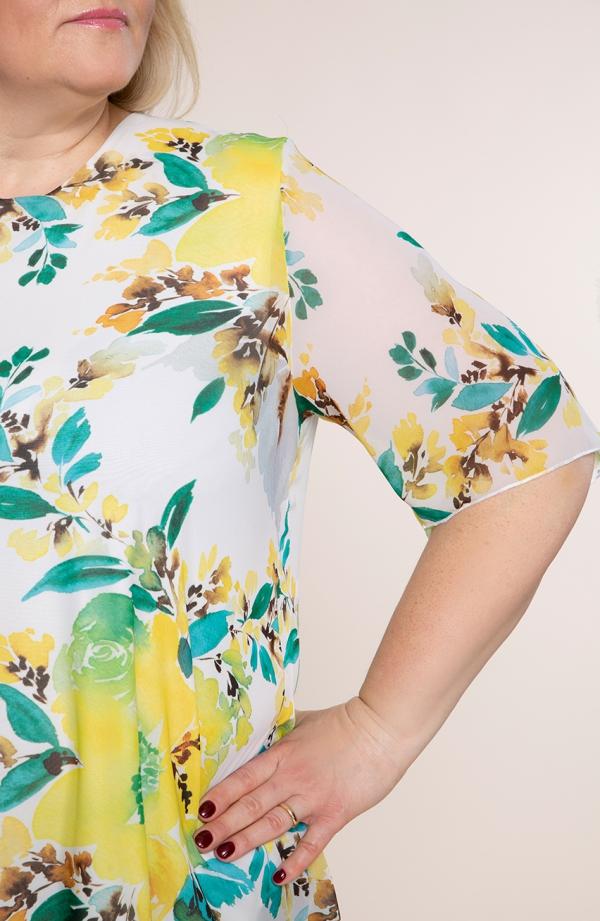 Asymetryczna tunika w żółte kwiaty