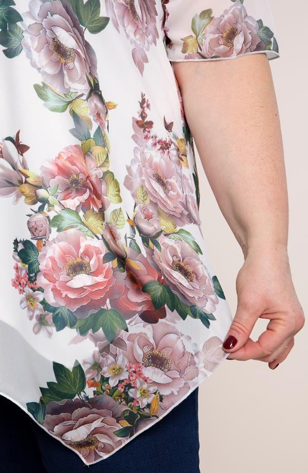 Asymetryczna tunika w pudrowe róże