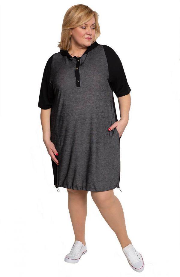 Czarna melanżowa sukienka z kapturem